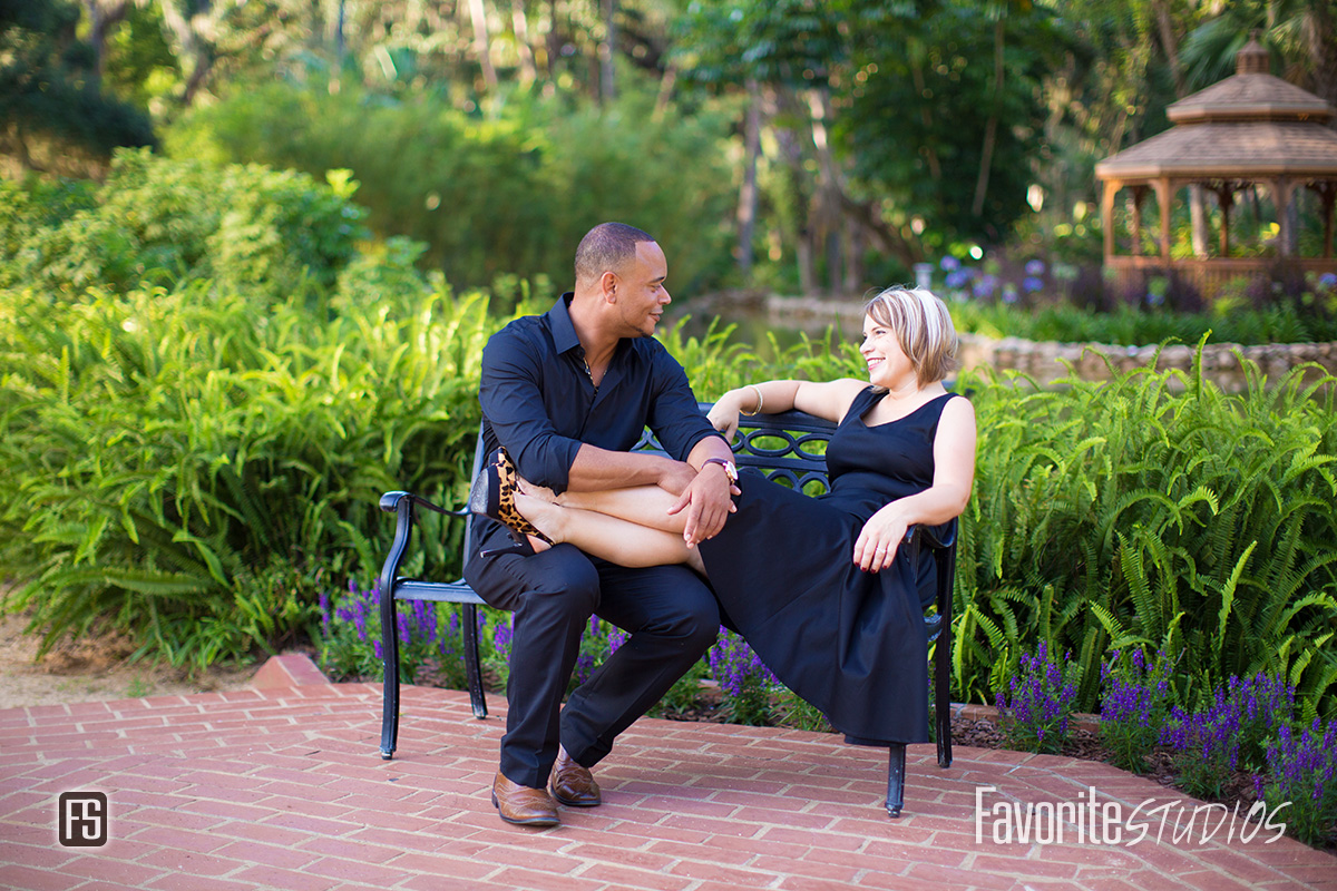 Engagement Photo on a park bench