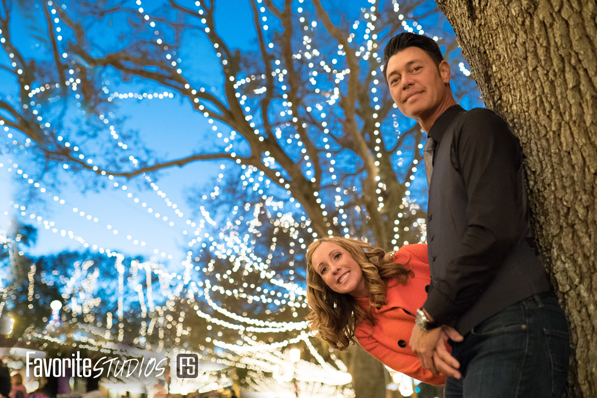 Nights of Lights Street Engagement Photos