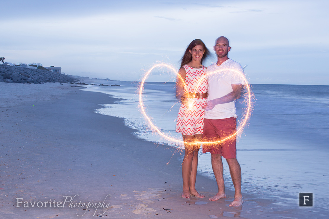 Sparkler Heart Engagement Picture