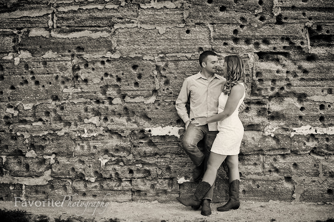 Vintage Black & White Engagement Photo