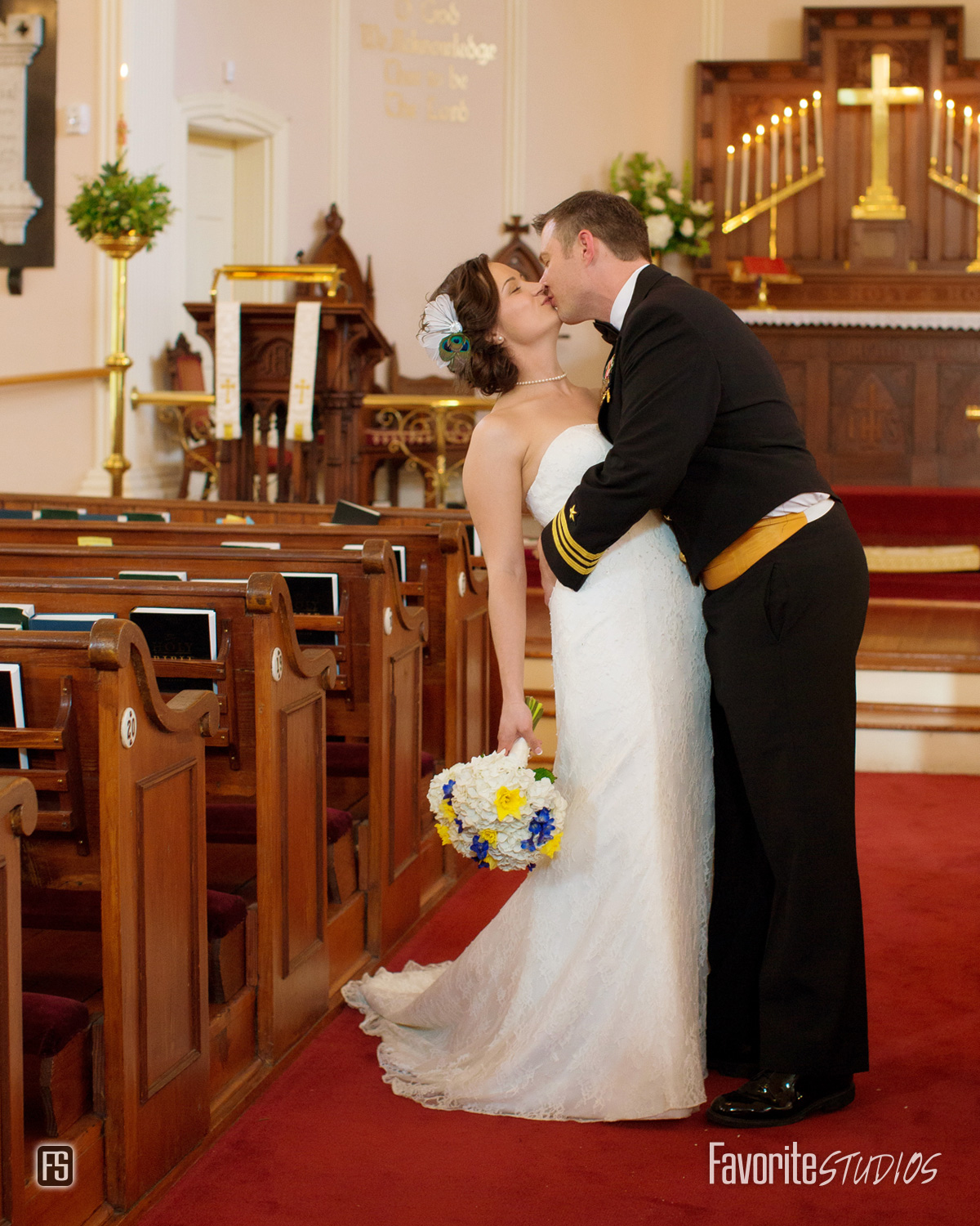 Wedding Kiss Photo as Husband and Wife inside Parish Church