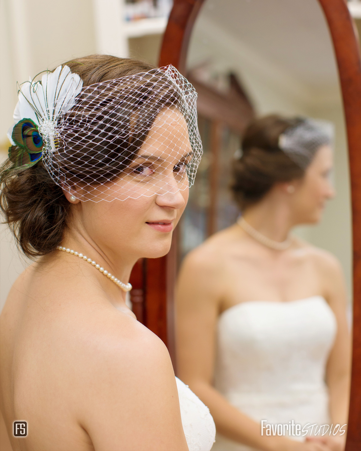 Photo of Bride in mirror looking back