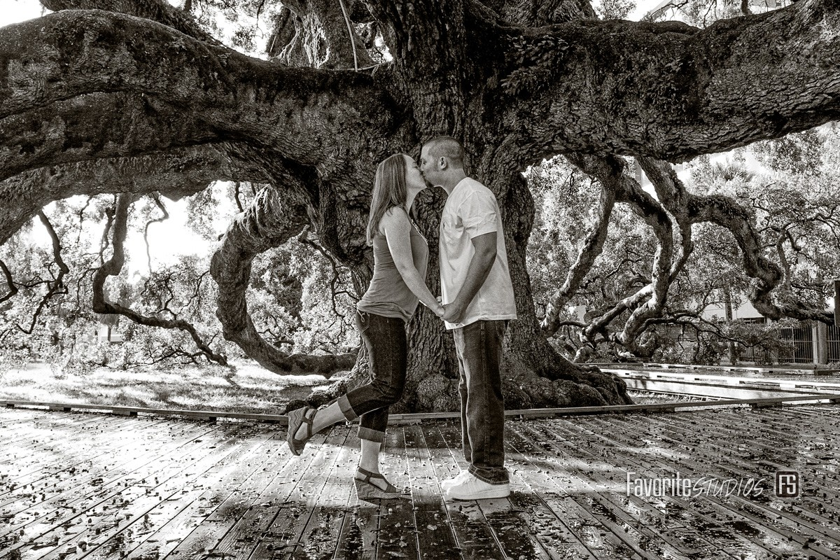 Outdoor Historic Park, FLorida Photographer, Intimate Engagment, Engagement and Wedding Photographer, Black and White Journalistic
