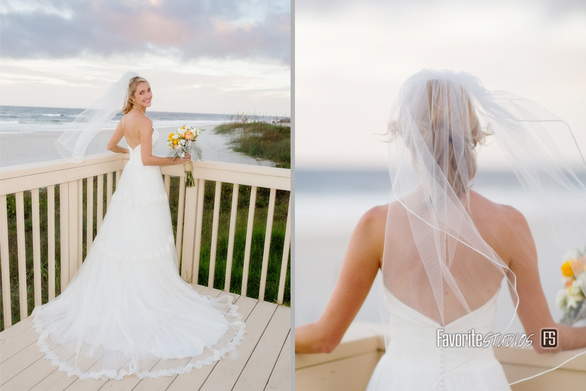 Beach Bridal Photos by Favorite Studios Wedding Photographer at Ponte Vedra Inn and Club