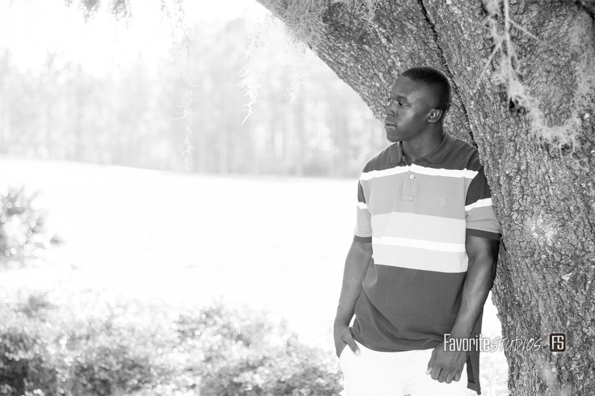 Outdoor Park, Black and White Senior Photo,  Jacksonville, FL